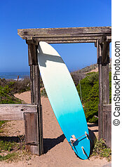 California surfboard on beach in Cabrillo Highway Route 1 - ...