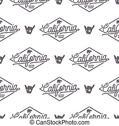 California Surfing monochrome seamless pattern with shaka sign and typography elements. Wilderness wallpaper design. White isolated background. For web design, t shirts, wrapping paper. Stock vector