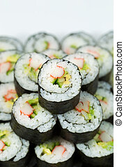 California Sushi Rolls in stacked Pile