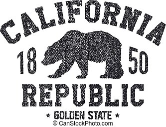 California t-shirt with grizzly bear.