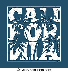 California tee print with palm trees. T-shirt design, graphics,