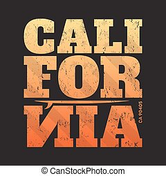 California tee print with surfboard. T-shirt design, graphics, stamp, label, typography.