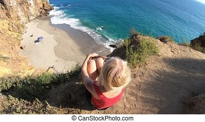 California travel destination concept. Lifestyle woman...