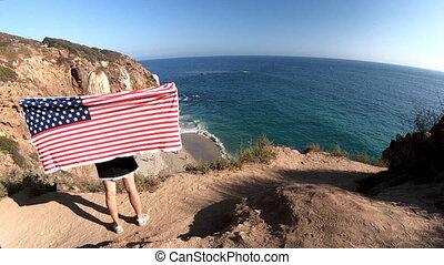 California travel patriotic flag