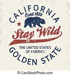 California typography print, grizzly Bear t-shirt. vector