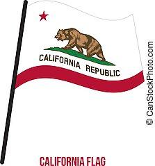 California (U.S. State) Flag Waving Vector Illustration on White Background