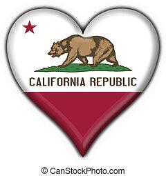 California (USA State) button flag heart shape - 3d made