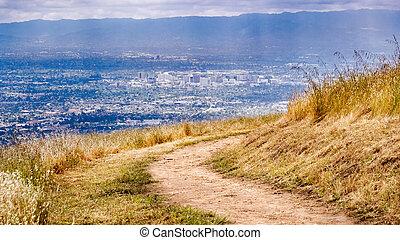 california, vista, centro, colline, background;, aereo, visibile, sud, francisco, zona, san, andando gita, jose, traccia, segno, scia, baia