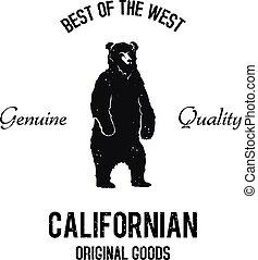 Californian goods logo - Vintage standing bear black and...