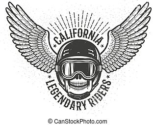 Californian legendary racers retro emblem with a skull in a helmet and glasses and wings