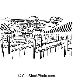 Californian Vineyard with Hills and House, Vector Sketched...