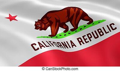 californiano, bandeira, vento