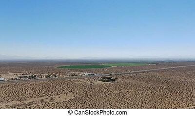 california's, collines, désert, vue aérienne, bleu ciel, ...