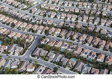 californie, banlieue, aérien