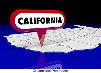 californie, ca, carte état, épingle, emplacement, destination, 3d, illustration