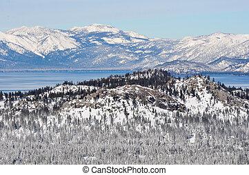 californie, hiver, tahoe, lac