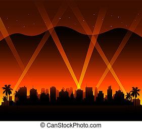 californie, hollywood, coucher soleil, fond, ville