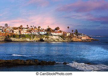 californie, la, plage, usa, jolla