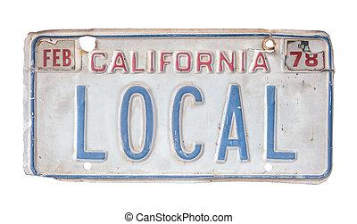 californie, local, autoriser plat