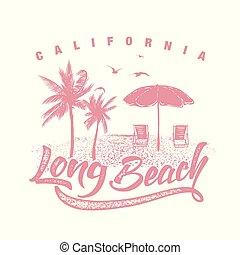 californie, long beach, typographie, pour, t-shirt, impression, vecteur, illustration