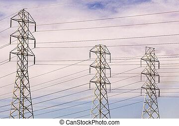 californie nordique, plume, lignes, sonoma, puissance, élevé, towers;, kincaid, wildfire, brûlé, transmission, comté, tension, électricité, fumée