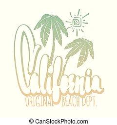 californie, typographie, pour, t-shirt, impression, vecteur, illustration