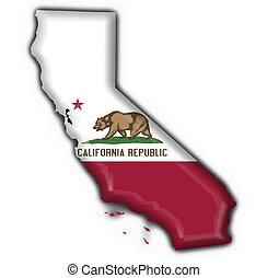 californie, (usa, state), bouton, drapeau, carte, forme