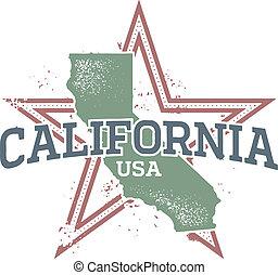 californien, united states, stat, frimærke