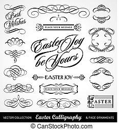 caligrafía, conjunto, pascua, (vector)