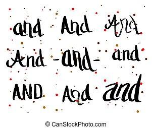 caligrafia, cartão cumprimento, com, jogo, de, prepositions, and.