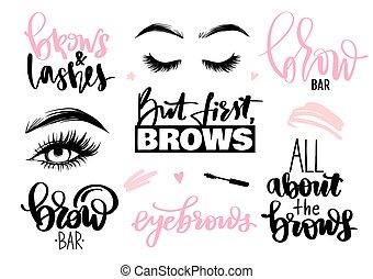 caligrafia, citação, ou, lettering, frases, set., testas, eyes., chicotadas