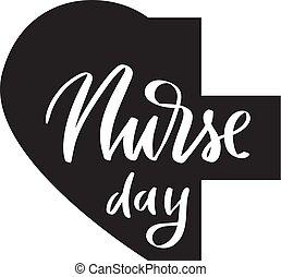 caligrafia, enfermeira, escova, dia, tipografia