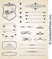 caligraphic, 以及, 頁, 裝飾, 元素