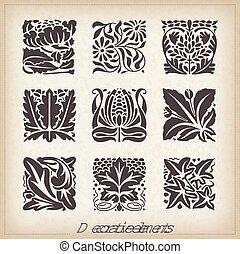 caligraphic, elementos, desenho
