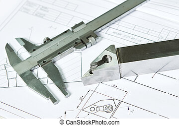 Caliper and metal detail pattern with blueprint project for cnc metalworking processing at industrial manufacturing factory