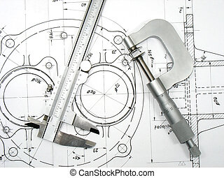 Caliper and Micrometer on technical drawings 2