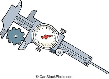 Cartoon caliper measures the gear vector illustration