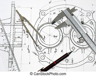 Caliper, compass, ruler and pencil on technical drawing