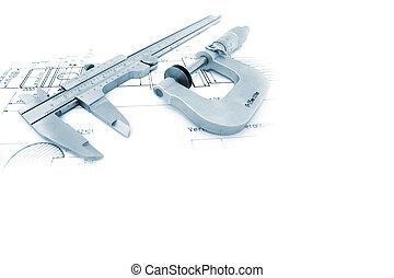 caliper, og, mikrometer, på, lystryk, hos, copyspace