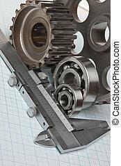 caliper with gears and bearings
