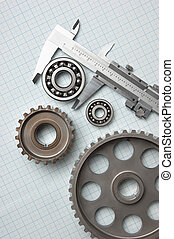 caliper with gears and bearings