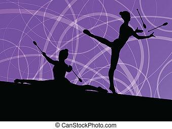 calisthenics, sport, gymnaster, abstrakt, piger, unge,...