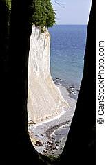 peeble coast and cliffs at the Baltic sea in the Jasmund national park on the island of Ruegen, Germany
