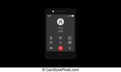 Call 911 Mobile Phone. Transparent Background. 2 Animation...