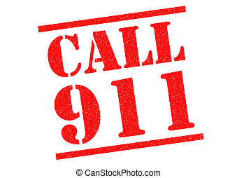 CALL 911 red Rubber Stamp over a white background.