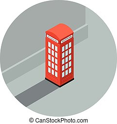 call-box, isometric, illustratie, telefoon, vector, kraam, rood