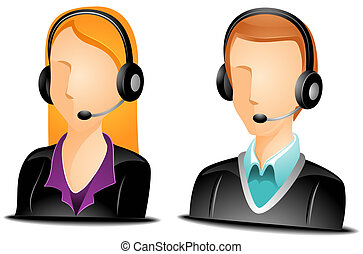 Call Center Agent Avatars with Clipping Path