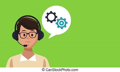 Call center agent with blank bubble speech HD animation -...