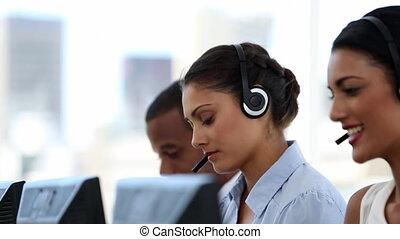 call center, agenti, lavorativo, in, loro