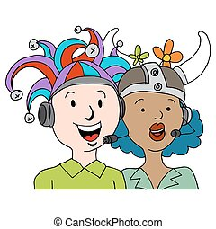 Call Center Agents Funny Hats